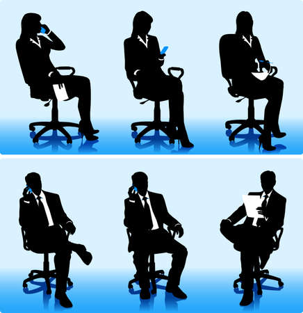 woman sitting: Set of silhouettes of businessmen and businesswomen in office armchairs. Illustration