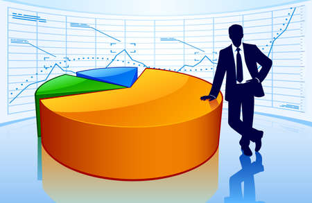 Successful businessman with big pie chart Ilustração