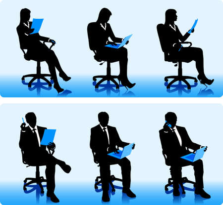 financial consultant: Set of silhouettes of businessmen and businesswomen in office armchairs. Illustration