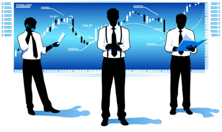 Businessmen with stock market chart. Stock Vector - 16582483