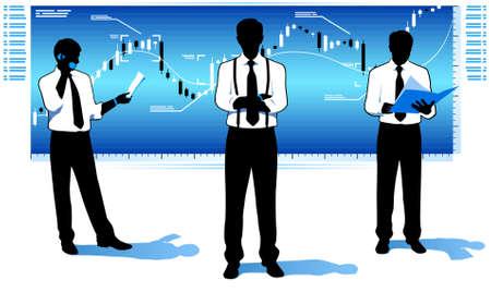 stock trader: Hombres de negocios con gr�fico de cotizaciones de mercado.