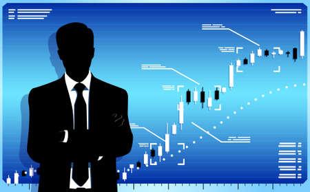stock trader: Trader con la carta de la bolsa. Se trata de archivos con transparencia Vectores