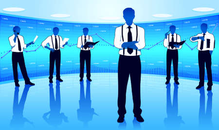 Businessmen group on a business background Stock Vector - 16999808