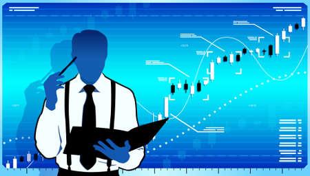 Business analyst think about stock market. Ilustração