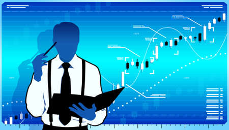 Business analyst think about stock market. Stock Vector - 17102084