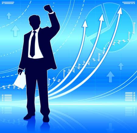stock trader: Hombre de negocios feliz con las cartas que crecen Vectores
