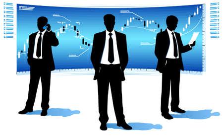 stock trader: Los hombres de negocios de traje Vectores