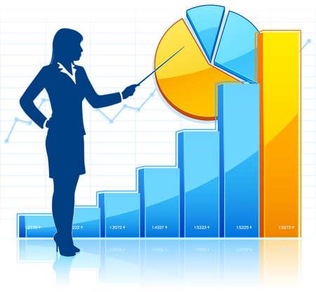 Businesswoman shows growing charts Ilustração