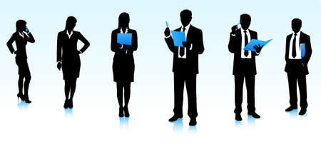 business analysis: Silhouettes of businessmen and businesswomen