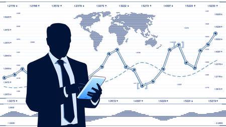 computador tablet: Analista de negócios com computador tablet Ilustração