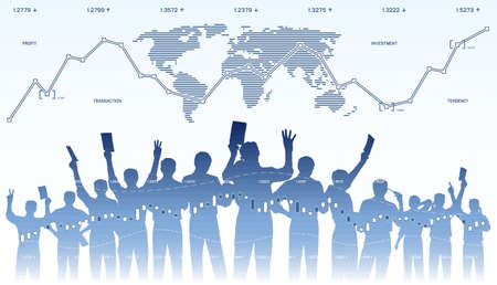 traders: Silhouettes of stock exchange traders