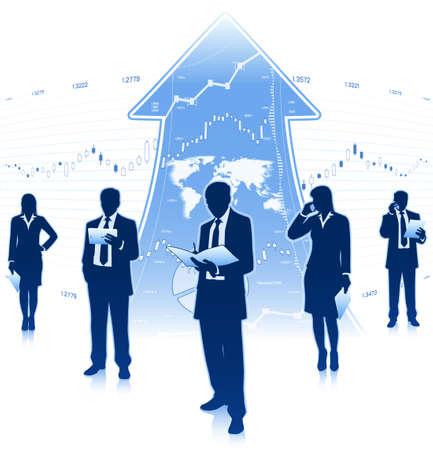 businesswomen: Group of businessmen and businesswomen