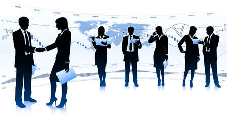 woman tablet: Group of businessmen and businesswomen