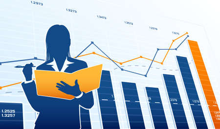 business woman: Business woman with charts