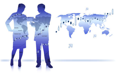 Businessman shows tablet to businesswoman Ilustração