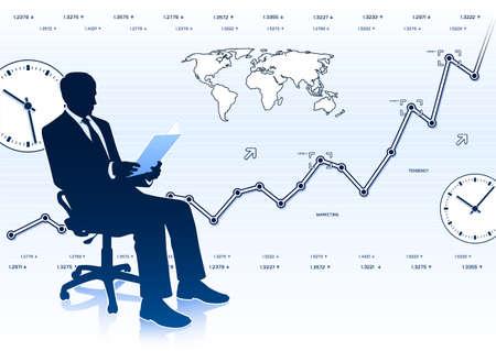 Silhouette of businessman in office chair Ilustração