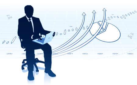 Businessman in office chair with laptop Ilustração