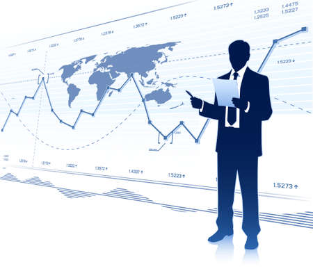 stock trader: Businessman works with document Illustration