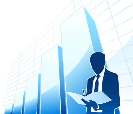 shareholder: Businessman works with document Illustration