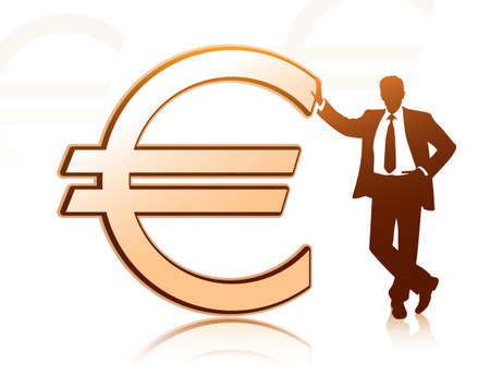 shareholder: Businessman with euro sign