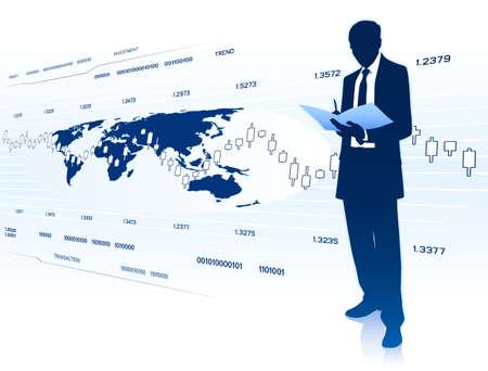 scrutiny: Businessman works with document Illustration