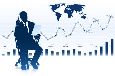 trader: Silhouette of businessman in office chair Illustration