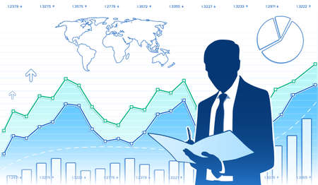 Businessman works with document Ilustração
