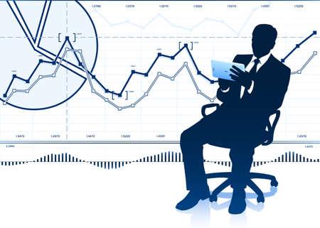 Silhouette of businessman with tablet computer Ilustração