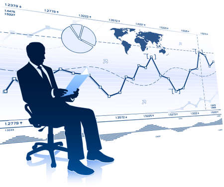 Silhouette of businessman in office chair Illustration