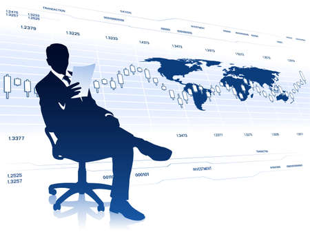Businessman in office chair with document
