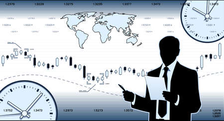 Businessman on background with charts and watch