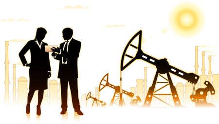 Businessman with business woman on background of oil factory Ilustração