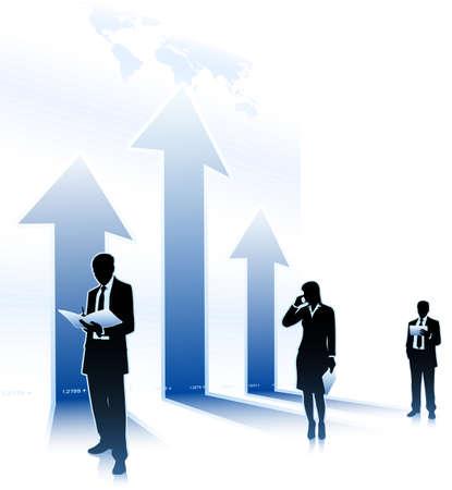 Businessmen stands beside of arrows up Ilustração
