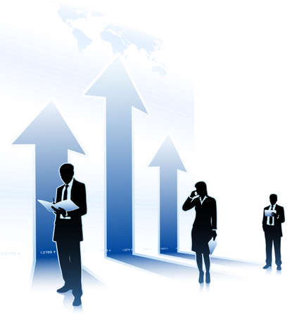 tendency: Businessmen stands beside of arrows up Illustration
