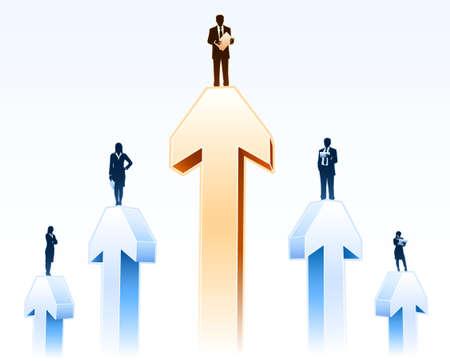 Businessmen stands on arrows Ilustração
