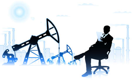 Businessman on background of oil factory