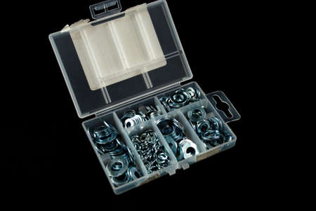 box containing several nuts and washers of different sizes
