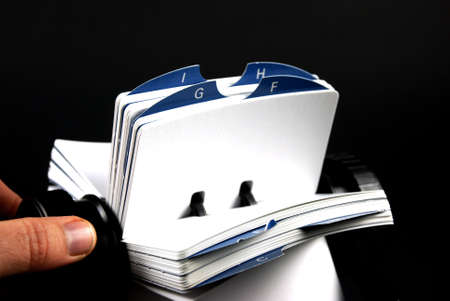 rolodex: Stock pictures of a rodolex tool for business on black background Stock Photo