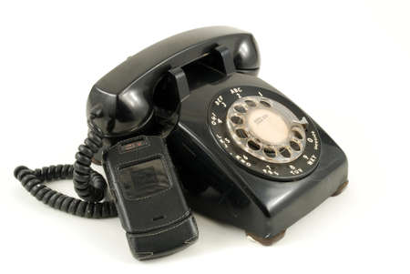 Pictures of an older, analog type telephone photo