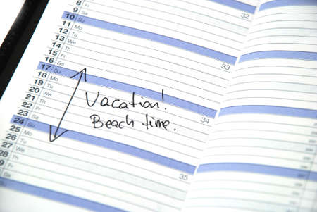 daily planner showing scheduled vacation time at the beach