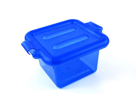 housewares: pictures of a blue plastic bin over a white background