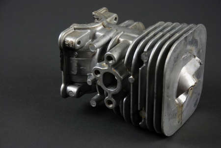 carburetor: Stock pictures of a small gas engine and a carburetor Stock Photo