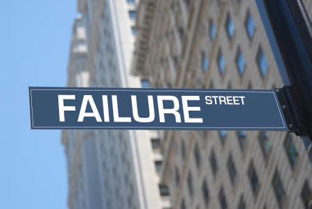 Failure street plaque in the city