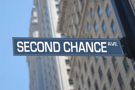 Second chance Avenue road sign Stock fotó
