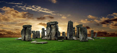 Stonehenge large panorama at sunset, United Kingdom