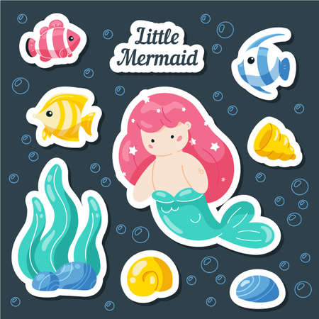Set sea stickers. Mermaid, fish, shells, coral reef. Cartoon patches, badges, pins, prints for kids. Doodle style. Çizim
