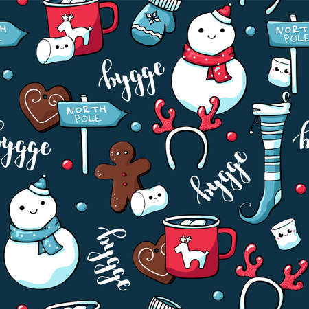 Cute doodle christmas elements. Vector hand drawn seamless pattern with hygge lettering and cozy things candles, christmas toys, snowman and hot chocolate with marshmallow. Danish living concept.