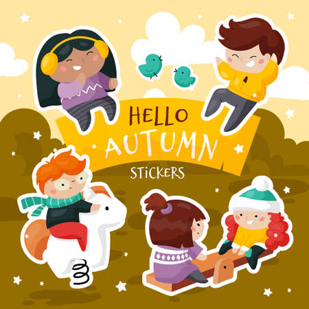 Set of cute creative stickers templates of a group of multi-ethnic children playing outdoors