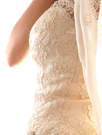 bride wearing wedding dress corset