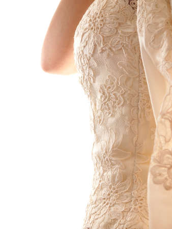 bride wearing wedding dress corset